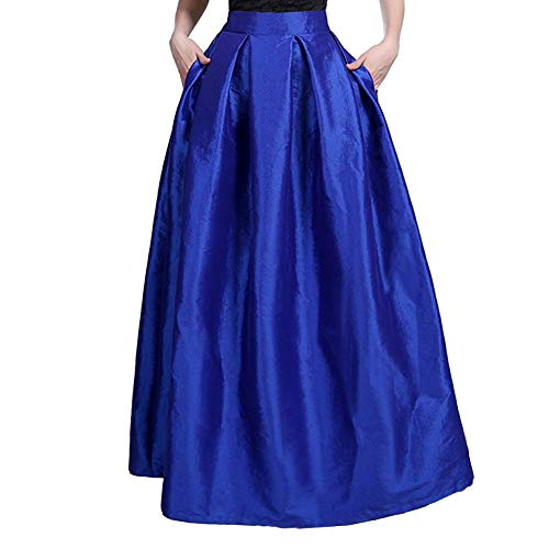 (Rostiumise Women's High Waist Pleated A-line Flared Skirts Maxi Long Skirts(Blue,L))