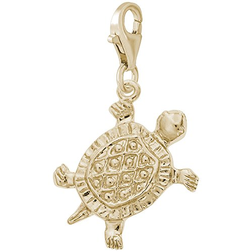 14K Yellow Gold Turtle Charm With Lobster Claw Clasp, Charms for Bracelets and Necklaces 14k Yellow Gold Turtle Charm