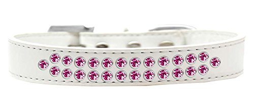 Mirage Pet Products Two Row Bright Pink Crystal White Dog Collar, Size 20 by Mirage Pet Products