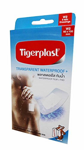 2 packs of Tigerplast Transparent Waterproof+. Waterproof Film + Pad, Transparent Film, Absorbent Pad, Non-stick Pad, 60 mm. x 100 mm. (2 dressings/ pack)