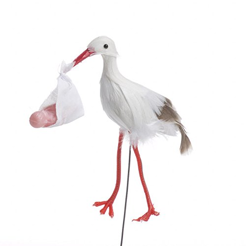 Factory Direct Craft Package of 12 Feathered Artificial Baby Stork Picks for Baby Showers, Announcements and Arrangements