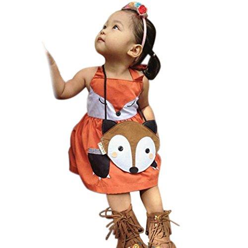 Toddler Baby Girls Fox Design Dress Baby Princess Dress Kids Costume (80CM(Age:12M), Orange)