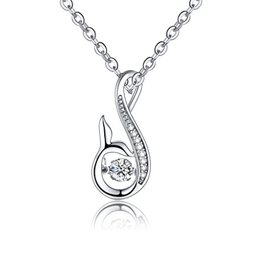 JO WISDOM 925 Sterling Silver Dancing Diamond Infinity Mermaid Tail Pendant Necklace,18-20