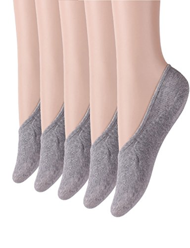 10Star11 Womens 5 Pack Unique Superlite Silicon Heel No Show Liner Socks Gray5p M L