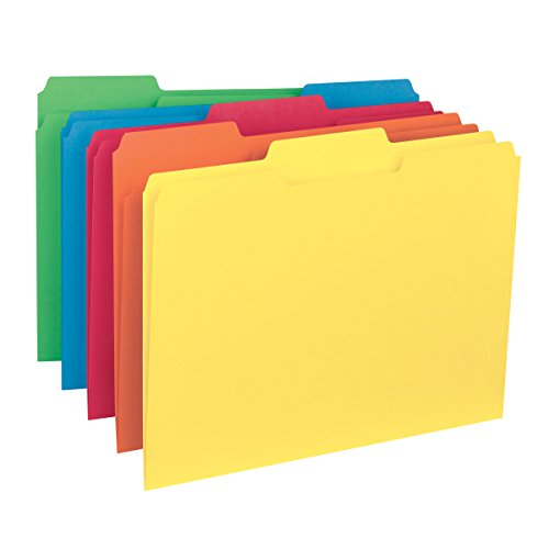 Smead Interior File Folder, 1/3-Cut Tab, Letter Size, Assorted Colors, 100 per Box (10229)