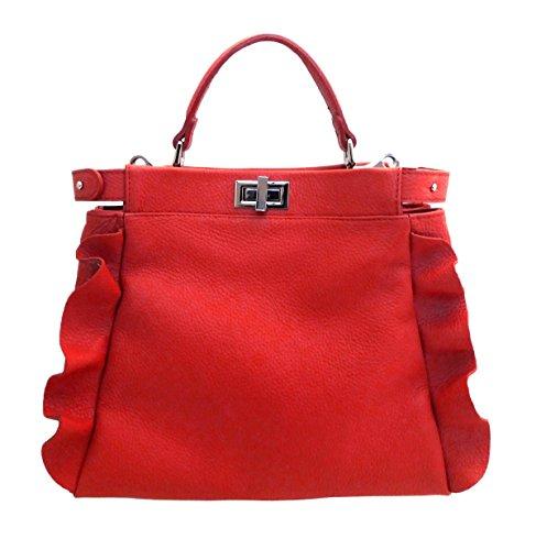 Superflybags Sac Femme En Cuir Véritable Souple + Rouge Modèle Volterra Made Italy Rouge