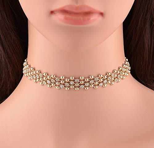 GUKDAS Full Crystal Rhinestone Collar Choker Necklace Womens Elegant Party Accessory Wedding Short Necklace Jewelry Gold (Collar Rhinestone Party)