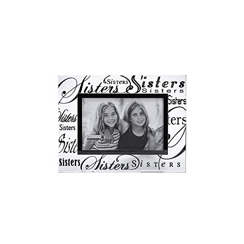Malden International Designs Mirrored Glass With Silver Metal Inner Border Sisters Picture Frame, 4x6, Clear