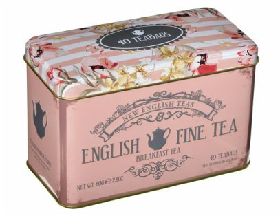 Tea Bag Gift Tins - English breakfast tea 40 tea bags in an attractive floral and elegant design tin