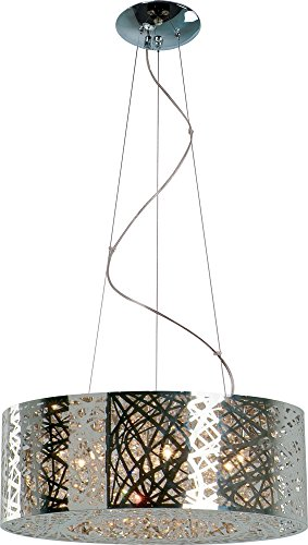ET2 Lighting 21308 Inca Mini Pendant Fixture, Polished Chrome Finish, 23.5 by 10-Inch ()