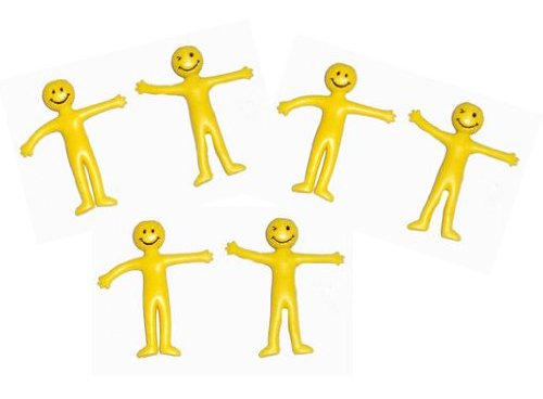 (1, Original Packaging) - Pack of 40 x Yellow Stretchy Smiley Men / Man Party Bag Filler ADL Wholesale