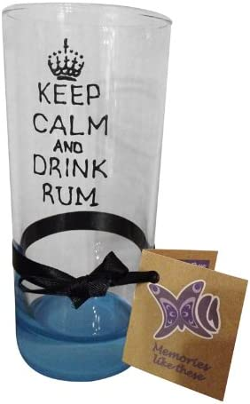 Diseño de Keep Calm And Drink Ron pintada a mano larga de cristal por Memories-like-These UK