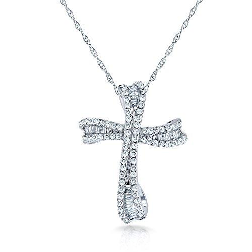 Kobelli Round & Baguette Cut Diamond Cross Necklace 1/3 C...