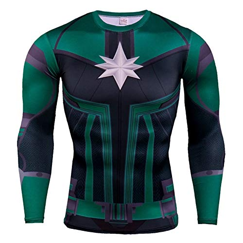 - Dri-fit Workouts Tee Long Sleeve Captain America Compression Shirt Crewneck S