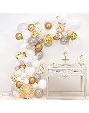 DULUX HOME Balloon Arch & Garland Kit   Pearl White, Chrome, Gold Confetti & Silver   Glue Dots   Decorating Strip  Baby Shower, Wedding, Birthday, Graduation, Anniversary Organic DIY Party Decoration