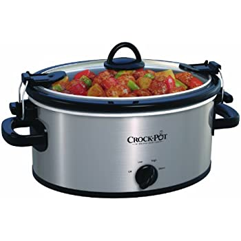 Crock-Pot SCCPVL400-S 4-Quart Cook and Carry Slow Cooker, Stainless Steel, Silver