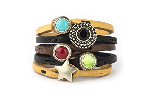 Genuine Italian Leather Bracelet in Multiple Color Combinations | Stone Closure | Handcrafted in Italy (Ginger) from Tulsi