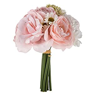 Barely Pink & White Ranunculus, Daisy, and Rose Small Bouquet,Bride, Bridesmaid, 8.5 inches tall. 35