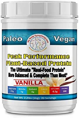 Body Symphony Peak Performance Plant Powder | Vanilla | Organic Pumpkin Seed Protein | Has 11 Vital Nutrients Normally only Found in Meat | Vegan, Paleo and Keto Friendly | 2.20 lbs 20 Servings