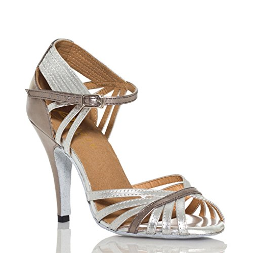 TDA Womens Fashion Single Strap Stiletto High Heel Silver Latin Salsa Ballroom Dance Shoes 6 M US