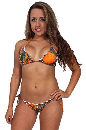[Women's Camo Bikini True Timber Ruffled Swimsuit: ORANGE Top (Large) Bottom (Medium)] (Orange Ruffled)