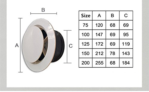 H/&L Adjustable ABS Air Vents Wall Ceilling Cover Soffit Vents for House 4 inch H/&L Tech ABS Air Vent