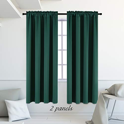 DONREN Hunter Green Blackout Thermal Insulating Window Curtains/Panels/Drapes for Bedroom (42 x 84 inches with Rod Pocket,2 Panels) ()