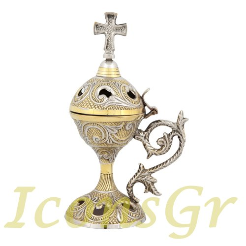 Christian Byzantine Orthodox Greek Censer Incense Burner Liturgy(169-gn)