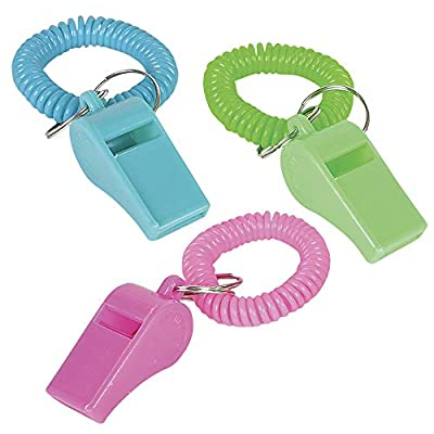 Whistle for Kids with Bracelet - (Pack of 36) Bulk Whistles and Stretchable Coil Wrist Keychain Bracelets in Assorted Colors for Goodie Bag Fillers and Birthday Party Favors by Bedwina: Toys & Games