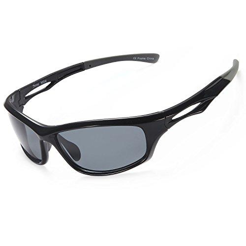 Siren Polarized Sports Sunglasses w Case TR90 Unbreakable Frame (Grey Lens on Black Grey - Grey Sunglasses
