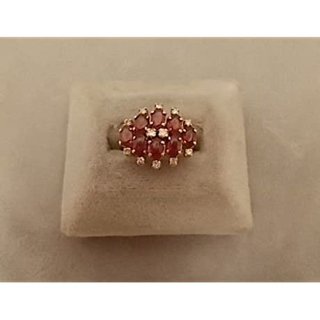 Marvelous 14k Gold Ring With Eight Genuine Natural Rubies And Diamonds 496