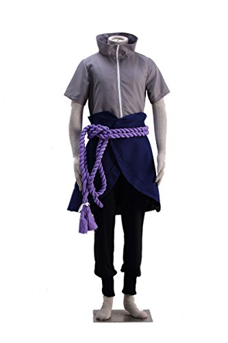 OURCOSPLAY Naruto Uchiha Sasuke Men's Cosplay Costume 5Pcs (Men M)