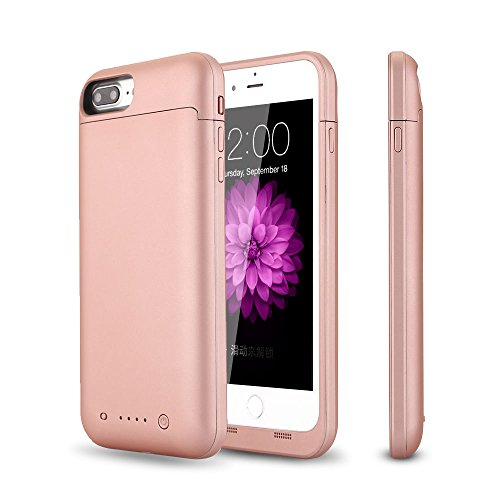 iPhone 6s plus / 6 plus Battery Case,TQTHL Update [6800mAh] External Battery Backup Protective Charger Case for iPhone 6 plus(5.5 inch) - LED Indicator Light ( Rose Gold )