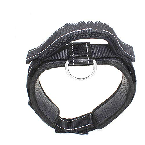 Padded Pet Dog Collar Integrated Short Elastic Dog Leash Training Collar Quick Control for Rescue Police Force Dog,Black,M -
