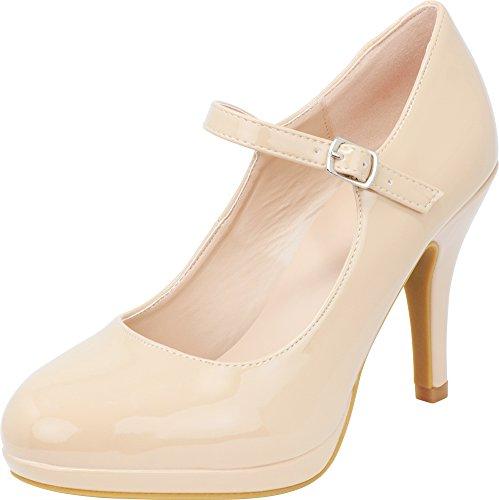 Cambridge Select Women's Closed Round Toe Mary Jane Buckled Strap Platform High Heel Pump (7.5 B(M) US, Taupe Patent PU) ()