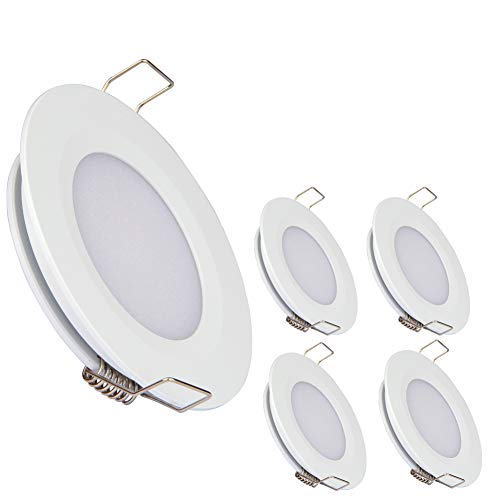 acegoo RV Boat Recessed Ceiling Light 4 Pack Super Slim LED Panel Light DC 12V 3W Full Aluminum Downlights, Warm White (White) (Recessed Mount Finish)