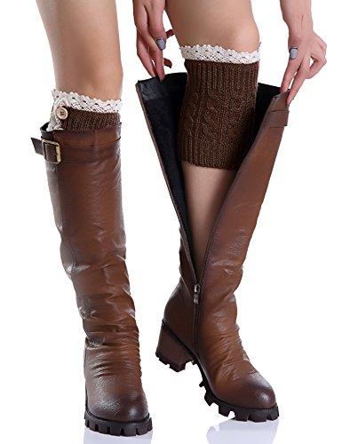 (wearella Women's Leg Warmer Short Boots Socks Crochet Knit Boot Cuffs Cover Coffee Style)