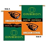 NCAA Oregon - Oregon State 2-Sided Banner with House Divided Pole Sleeve, 28'' x 40'', Multicolor