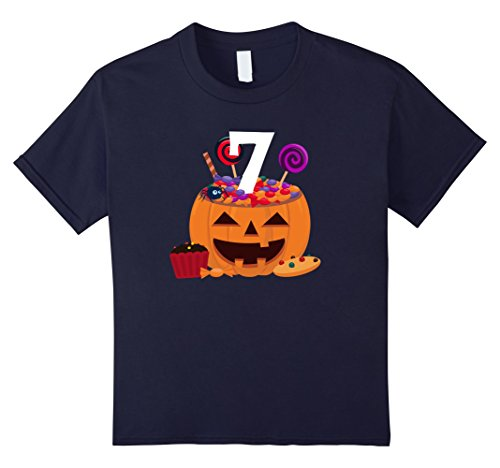 Old Navy Cupcake Costumes (Kids Pumpkin O' Lantern T-shirt 7th Birthday Kids Youth 8 Navy)