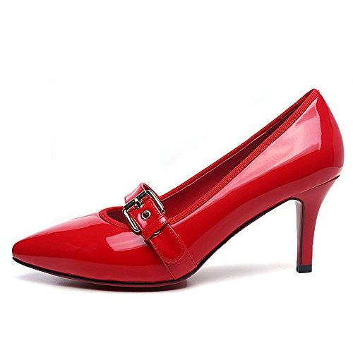 Nine Seven Cuero Moda Puntiagudos Tacones de Aguja con la Hebilla para Mujer Rojo