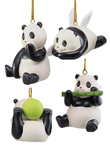 Ebros Gift Flying Pandas Jade Ornament Set of 4 Hanging Figurine Decorations Value Bundle -