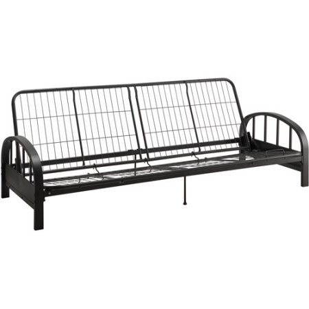 Aiden Metal Futon Frame, Black Durable, black metal frame construction Quality, mesh frame Retainer clips comfortable and stylish piece Product Dimensions (L x W x H): 77.00 x 30.00 x 29.00 Inches