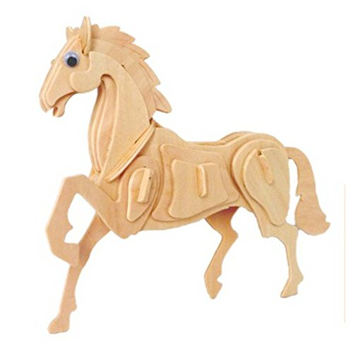 Mmrm 3D Jigsaw Puzzle Wooden Simulation Animal Skeleton Assembly Puzzle Model Toy - Horse