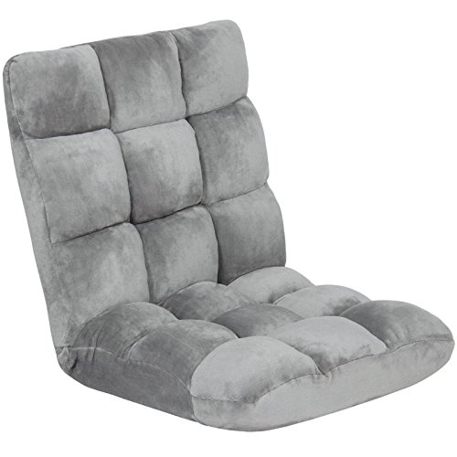 Memory Foam Cushioned Floor Gaming Sofa Chair Folding Adjustable – Gray + FREE E-Book