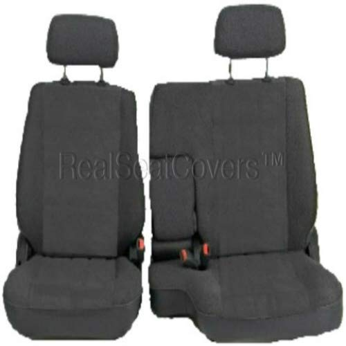 RealSeatCovers for Front 60/40 Split Bench Adjustable Headrest Armrest Belt Cutout Custom Made Exact Fit Seat Cover for Toyota Tacoma 1995-2000 (Charcoal, Dark Gray) (John Deere Bench Seat Covers For Trucks)