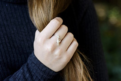 Cross Dangle Ring, Sterling Silver Thin Charm Stacking Midi Knuckle Ring, Size US 7.5, Handmade Designer Jewelry ()