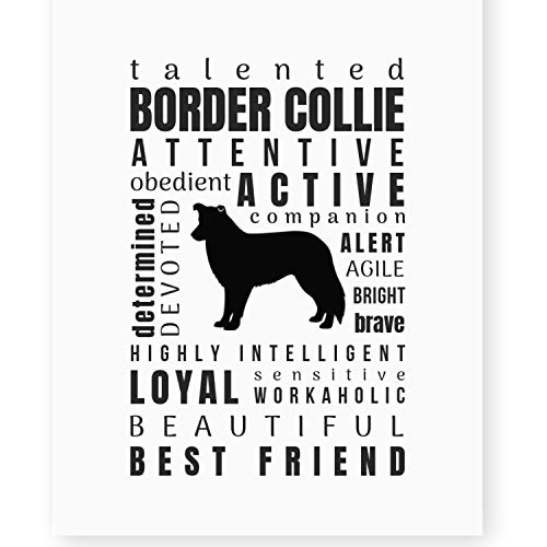 Border Collie Gifts Wall Art Print 'Pet Personality' Decor (8x10 Unframed) for Border Collie - Border Wall 10