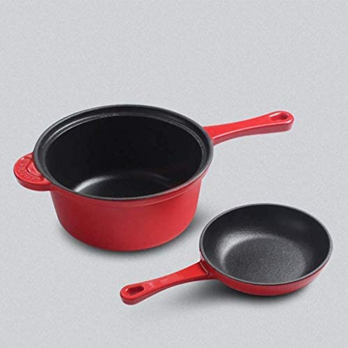 ZKZK Fer Frying Pan-Peut être utilisé comme Un Four et Frying Pan, Pan Lait à Double poignées for Barbecue ou Poêle intérieur/Four, Rouge