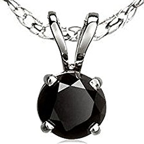DazzlingRock Collection 3.00 Carat (ctw) 14K White Gold Round Cut Black Diamond Ladies Solitaire Pendant 3 CT
