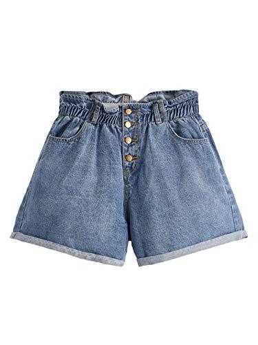 Milumia Women Plus Size Paper Bag Waist Button Rolled Trim Denim Shorts Plus-Blue4 2XL